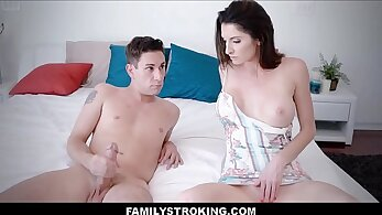 Busty masturbating step mom pounded