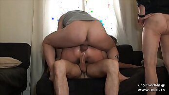 Stuffed Big Titted Slut gets Double Penetrated by Arab dude