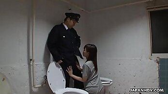Asian lady in a dungeon gets ball deep