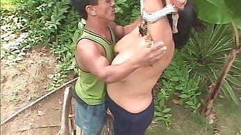 Fucking skinny midget slut outdoor