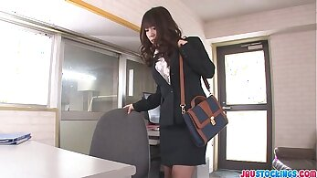 Asian babe blows rich guy in his office