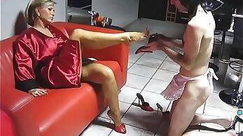 BIG load on little girl legs and heels