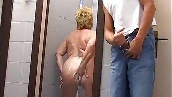 Chubby mature feet play beside shower