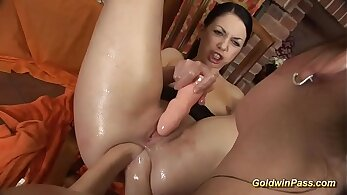 Crazy double anal girlfriends pussy