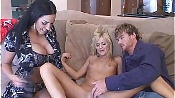 CFNM housewives share dick after passout meal