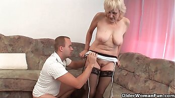 MILF in stockings creampied and facialized