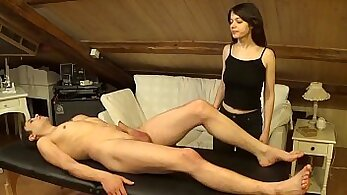 Brunette girl dp belly massage with facial