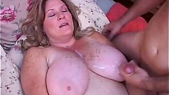 Chubby mature gets a dick inside