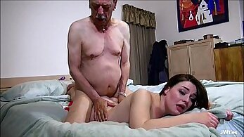 beautiful looking grandpa fucking on the living room couch