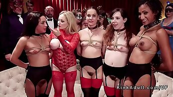 Cute hottie takes gangbang bdsm at party