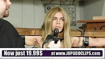 Blonde slave is punished at the slavehouse