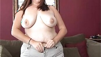 Chubby big tit brunette fucks pussy on breakfast