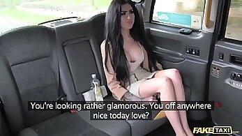 Crazy Latina sucks massive cock for money in taxi